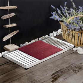 Design-Fußmatte Cubic, bestehend aus 2 Gitter-Rosten und roter Kokos-Matte