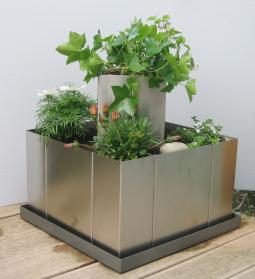 Hochbeet mit Boden, Pflanzgefäß mit Innensäule, Edelstahl, Bausatz