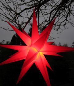 3D-Leucht-Stern rot für außen, Ø25 cm, mit Timer und LED