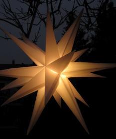 3D-Leucht-Stern weiß für außen, Ø25 cm, mit Timer und LED