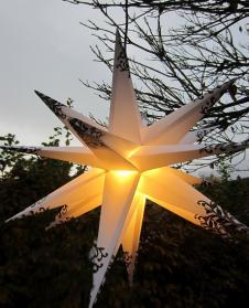 Outdoor-Leucht-Stern, LED-Stern für außen, weiß-schwarz