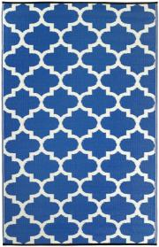 Outdoor-Teppich Tangier, blau-weiße Ornamente