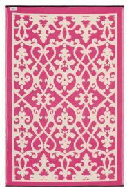 Outdoor-Teppich Venedig, Ranken pink-weiß