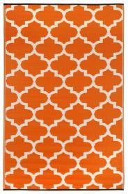Outdoor-Teppich Tangier, orange-weiß Ornamente
