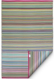 Outdoor-Teppich Cancun, Streifen blau-rosa-bunt 90 x 150 cm