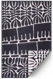 Outdoor-Teppich Flower, schwarz-weiß