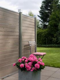 Sichtschutz aus Holz CUBIC, graubraun, zum Bau einer Sichtschutz-Wand, auch als Zaun-Element