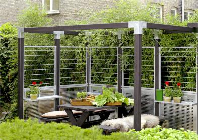Stahlspalier CUBIC, Teil eines Sichtschutz-Systems, auch als Zaun-Element