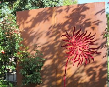 3er-Set Moderne Sichtschutz-Wand aus Metall, Rost-Optik, 3 x Sichtschutz à 94 x 186 cm