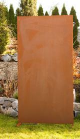 Moderne Sichtschutz-Wand blanko, Garten, Terrasse, Metall in Rost-Optik