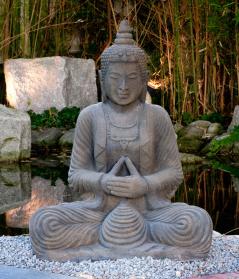 Sitzender Buddha, 80 cm, Steinguss massiv