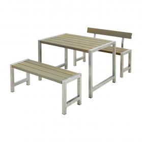Balkon-Sitzgarnitur, Holz grau, kleiner Garten, modern, Cafe-Garnitur