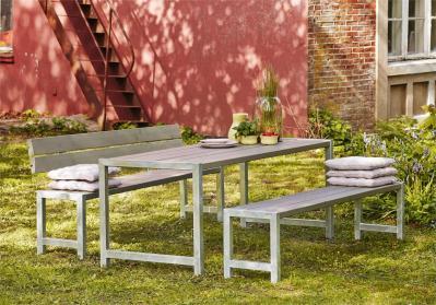 Moderne Outdoor-Sitzgarnitur Planken, Holz massiv graubraun/taupe, ähnlich einer Biertischgarnitur