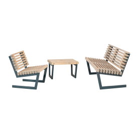 Garten Sitzgarnitur Holz, kleiner Tisch, Loft-Style
