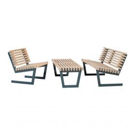 Garten Sitzgarnitur Holz, großer Tisch, Loft-Style