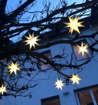 Outdoor-Lichterkette mit 10 Sternen, 3D, LED, mit Stecker