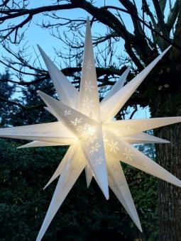 3D-Leucht-Stern für Außen, Schneeflocken-Design, Ø55 cm, weiß
