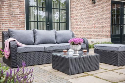Loungemöbel Stockholm grau-schwarz, Sitzgruppe und Sonnenbett in einem