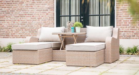 Loungemöbel Stockholm taupe-hellbraun, Sitzgruppe und Sonnenbett in einem