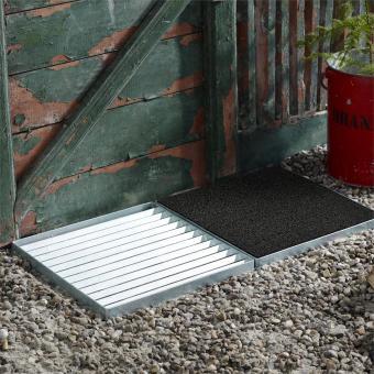 Design-Fußmatte Cubic für außen, Gitter und schwarze Matte