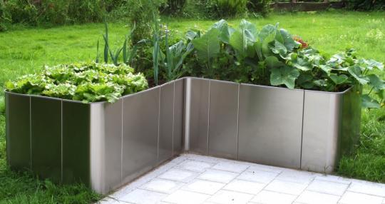 "Hochbeet in L-Form ""Corner 163"", Edelstahl, Bausatz 33 cm hoch"