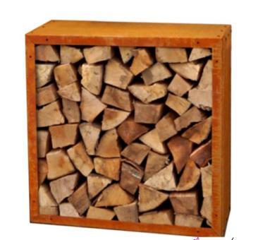 Angebot: Kaminholzregal 78 x 78 cm, Tiefe 35 cm,  Stahl Edelrost outdoor