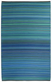 Outdoor-Teppich Cancun, Streifen blau-türkis 150 x 240 cm