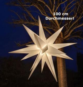 Leuchtstern für außen, XXL, 100 cm, weiß, LED, outdoor, Weihnachtsstern, für Stromanschluss