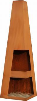 Terrassen-Kamin SANGA, wetterfester Stahl, Edelrost-Look 44 x 44 x 150 cm