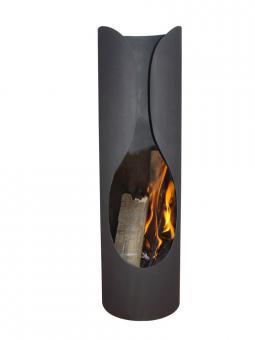 ALSAYA Terrassen-Kamin, schwarzer Stahl, 35 x 122 cm, runde Form
