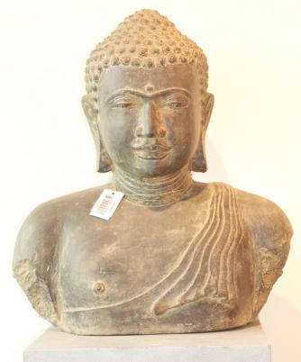 Buddha-Büste Kunst-Stein Antik 55 cm grau-grün