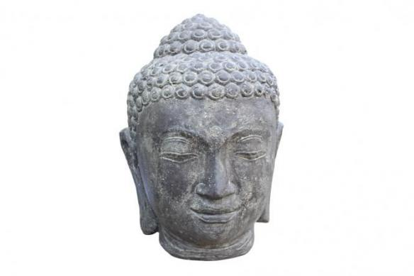 Buddha-Kopf Steinguss, Antikfinish, 50 cm, Garten, wetterfest