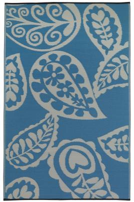 Outdoor-Teppich Paisley, türkis/wasserblau-weiß