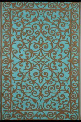 Outdoor-Teppich Gala, türkis/blau-gold
