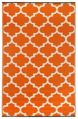Outdoor-Teppich Tangier, orange-weiß Ornamente