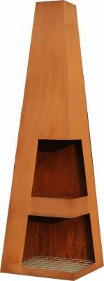 Terrassen-Kamin SANGA, wetterfester Stahl, Edelrost-Look