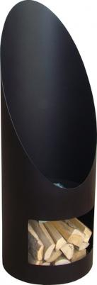 SOLARA Terrassen-Kamin, schwarzer Stahl, runde Form, inkl. Holzlege
