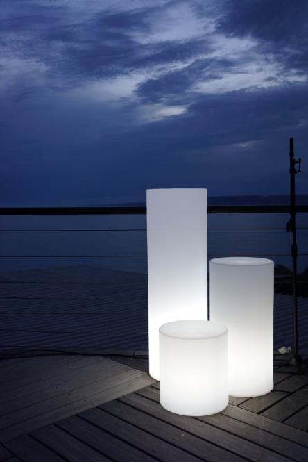 ALTY Gartenleuchte weiß Outdoor, Zylinderform, Säulen-Lampe für den Garten, drei Größen