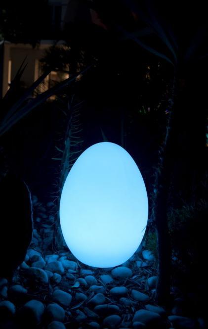 Gartenleuchte EASY, Bodenleuchte weiß, Ei-Form, LED-Farbwechsel, drei Größen