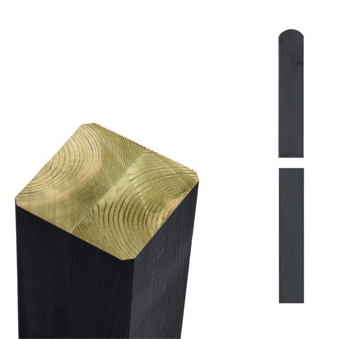 garten im quadrat pfosten holz anthrazit grau lasiert f r sichtschutz und zaun cubic. Black Bedroom Furniture Sets. Home Design Ideas