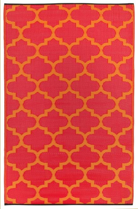 Outdoor-Teppich Tangier, rot-orange Ornamente