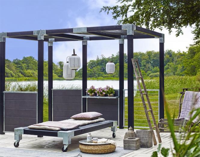 garten im quadrat sichtschutz aus wpc zum bau einer. Black Bedroom Furniture Sets. Home Design Ideas