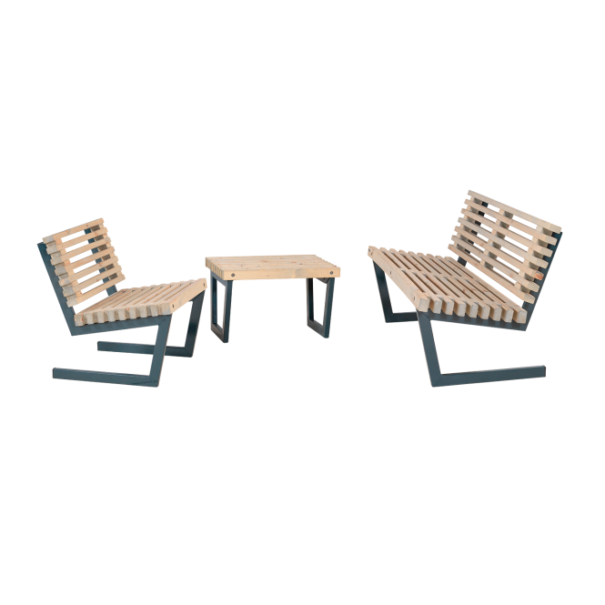 LOFT Sitzgarnitur aus Holz, KLEINER Tisch