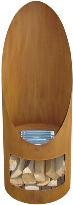SOLARA Terrassen-Kamin, runde Form, wetterfester Stahl, Edelrost-Look