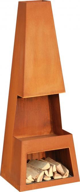 Terrassen-Kamin PULAR, echter Corten-Stahl, Edelrost-Look