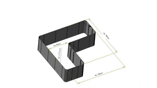 garten im quadrat hochbeet in l form corner 163 edelstahl bausatz 50 cm hoch. Black Bedroom Furniture Sets. Home Design Ideas