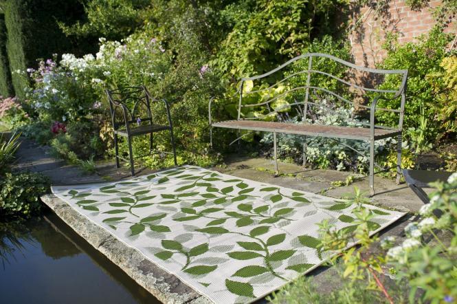Garten im Quadrat  OutdoorTeppich Bali, grüncremeweiß