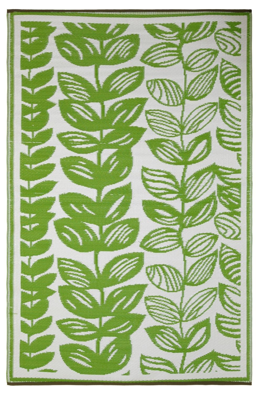 Teppich grün weiß  Garten im Quadrat | Outdoor-Teppich Male, grün-weiß, Blüten-Muster