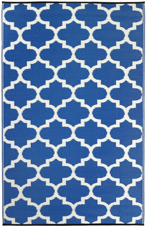Outdoor teppich  Garten im Quadrat | Outdoor-Teppich Tangier, blau-weiße Ornamente