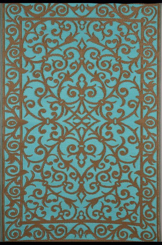 garten im quadrat outdoor teppich gala t rkis blau gold. Black Bedroom Furniture Sets. Home Design Ideas
